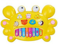 Unisex baby crabs - Early childhood music toy crab section baby educational toys mini electronic organ Yellow Red CP01