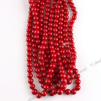 Wholesale 350pcs Bulk Round Red Coral Gemstone Charms Spacer Beads Fit Jewelry Bracelets Necklaces DIY