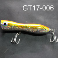 Wholesale Saltwater Popper Big Game Topwater Lure Handcraf Wood Bait Mustad Hook GT17