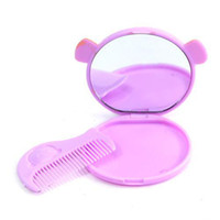 Wholesale 20 Portable mini cartoon animal headband mirror ABS Glass