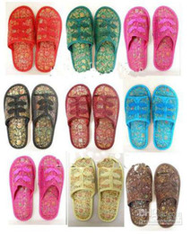 Traditional Chinese Slippers For Women Silk Embroidered Bedroom Slipper 3pairs lot Free