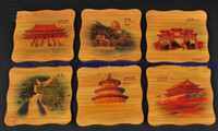Wholesale Retro Bamboo Painted Coaster Glass Cup Mat Coffee Pad China Style Sets of Table Coaster pack