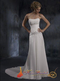 Wholesale No Risk Shopping high quality Strapless White Modern Sheath Beaded Chiffon Dresses Wedding Gown