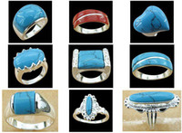 Wholesale Hot Good Quality new Silver Turquoise gem Ring fashion silver Jewelry