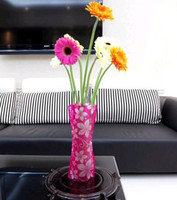 Wholesale eco friendly Foldable folding flower PVC Durable Vase Home Wedding Party easy to store