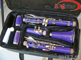 Wholesale Bright purple CLARINET key with Case professional Woodwind