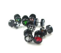 barbells piercing - g mm Black Inlayed Sign Barbell Ring Ear Piercing Body Jewelry Mix Logo