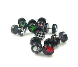 Wholesale g mm Black Inlayed Sign Barbell Ring Ear Piercing Body Jewelry Mix Logo