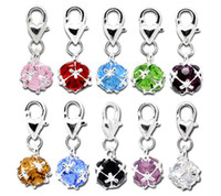 all clip on charms - Plated Silver Mix color Rhinestone Clip On Charm Fit Link Chain Bracelet jewelry Crystal Pendants