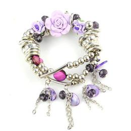 wedding giveaways , rose charm bracelet , CCB beads costume jewellery , BR-1109