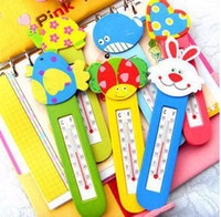 Wholesale drop retail Wooden Thermometer Fridge Cartoon Cute room refrigerator