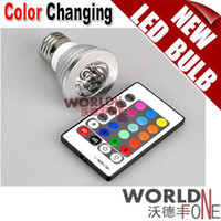 Wholesale 3W E27 Remote Control LED Bulb Color Changing RGB LED Spot Light V V WF LLB08