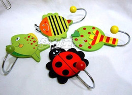 Wholesale Cute Cartoon Wooden Animal Robe Home Wall Hanging Hook Hanger Creative Gifts Kids Nursery