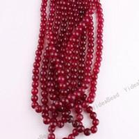 Wholesale 320x Scarlet Malay Quartz Jade Round Charms Spacer Bead Fit Necklaces Bracelets Necklaces DIY