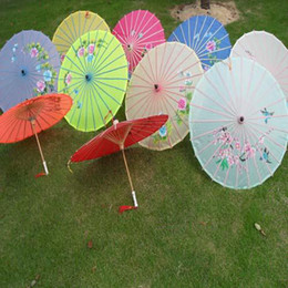 Wholesale hand made inches Chinese imitation pongee parasols Bridal wedding parasols Straight bamboo umbrellas
