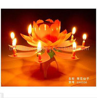Wholesale 10pcs Lotus Music Candles Lotus Petal Wedding Flower Music Candle Lotus Birthday Music Candle