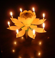 Wholesale 100pcs Lotus Birthday Music Candles Lotus Petal Wedding Flower Music Candle Lotus Candle