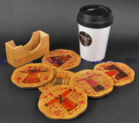 Wholesale Gift Bamboo Painted Coaster Glass Cup Mat Coffee Pad China Style Sets of Table Coasters pack