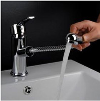 bathroom pull handles - Single Handle Chrome Centerset Pull out Bathroom Sink Faucet