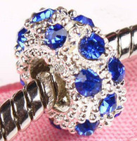 Wholesale 100 rhinestone spacer silver Plated bead charm Crystal beads charms mix colors