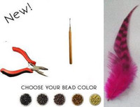 Wholesale Natural Feather Extension Kit Feathers Extensions pieces beads pliers needle