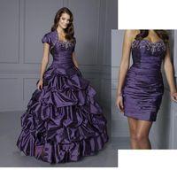 Wholesale NEW Purple Sweetheart Two Piece Design Pleated Beads Taffeta Short Mini Bridal Gowns Detachable Train Pick Up Wedding Dresses