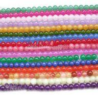 Wholesale round mm Multicolor jade gemstone loose Beads ADCG5