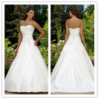 Wholesale Custom Made Sexy Modest A line Strapless Court Train Taffeta Beaded Corset Wedding Dresses gowns