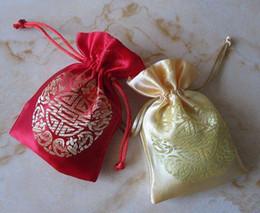 Wholesale Silk Cloth Drawstring Bags - Chinese Joyous Silk Wedding Favor Candy Bags Small Cloth Drawstring Gift Bags Wholesale Lavender Packing Pouch Sachet 9 * 12cm 50pcs lot