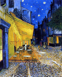 Wholesale The Cafe Terrace on the Place du Forum Arles at Night September Vincent Van Gogh Famous Oil Painting on Canvas Wall Art Picture