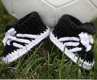 Crochet baby football shoes infant tennis booties cotton yar...