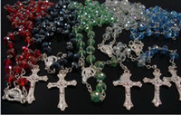 Wholesale HOT crystal beads rosary silver Jesus cross necklace jewelry mix order lYDCG2
