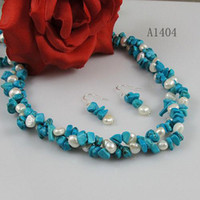 Wholesale natural shaper AA MM rows white pearl blue turquoise necklace earring woman s jewery set A1404