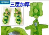 70CM 95CM Small  Baby pea Sleeping Bag Magic sleep bags FLEECE Infant Children's green romper SLEEPWEAR baby pajamas