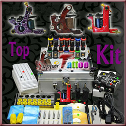 Tattoo kit 3 Top Machines Guns Power Supply Carrying Case 14 Colors Tattoo Ink Beginner Use