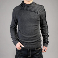 Wholesale men s personality asymmetric sleeve fashion sweater sweatshirt Knitwear T shirt