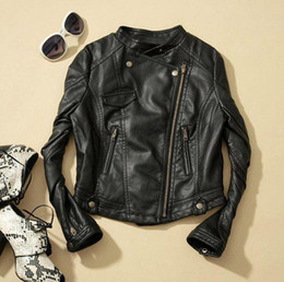 Wholesale New Fashion Women Faux Leather Zip Up Cropped PU Leather Jacket Biker Jacket