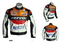 Wholesale free New Moto GP motorcycle REPSOL Racing Leather Jacket size S to M L XL XXL