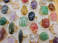 Wholesale Charming Jewelry Gemstone Rings Alloy Gold Plated Ring Natural Stone Rings Mix R