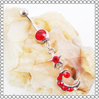 Red Alloy 0011# Belly Button Navel Rings Body Piercing Jewelry Dangle Fashion Star Moon CZ Stone Steel 10Pcs Lot