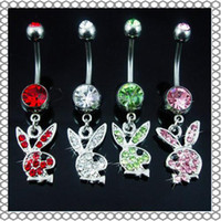 Red Alloy 0061# Belly Button Navel Rings Body Piercing Jewelry Dangle Accessories Fashion Charm Rabbit CZ 10Pcs Lot
