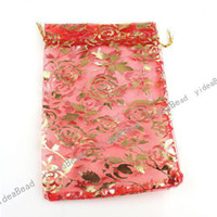 Wholesale 60pcs Jewelry Box Luxury Red Organza Jewelry Pouches Gifts Bags For Ring Wedding Gifts DIY