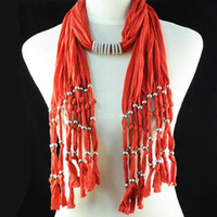Wholesale New Arrival Fashion Costume Jewelry beads handmade Red Long Tassel Scarf With Silver Beads Charm Pendant NL A