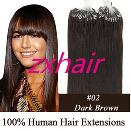 Wholesale 100S quot quot Micro rings loop hair Remy Indian Human Hair Extension dark brown g s mix