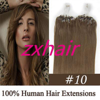 Wholesale 100S quot quot Micro rings loop hair Remy Indian Human Hair Extensions medium ash brown g s