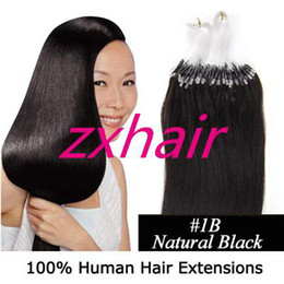 Wholesale 100S quot Micro rings loop Remy Indian Human Hair Extensions B natural blac g s mix