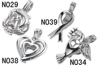 WG55 Teboer Jewelry 20pcs Vente en gros Mixed Lockets Cage Charm Pendants Divers Designs Love Wish Pearl Cages