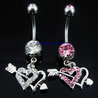Women's arrow hearts - 0361 an arrow thrills through two hearts Belly Button Navel Rings Body Piercing Jewelry JFB Dangle button rings