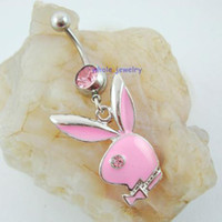 Wholesale Styles Body Jewelry - 0233 nice styles with mix colors Belly Button Navel Rings Body Piercing Jewelry Dangle Accessories Fashion belly pendant Charm Rabbit