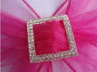 Wholesale Low price Wedding Chair Sash hot selling cm Square Silver A GRADE Diamante Buckle